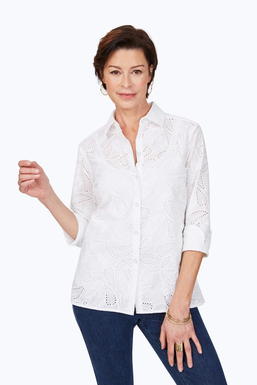 Morgan Petite Tropical Embroidery Shirt
