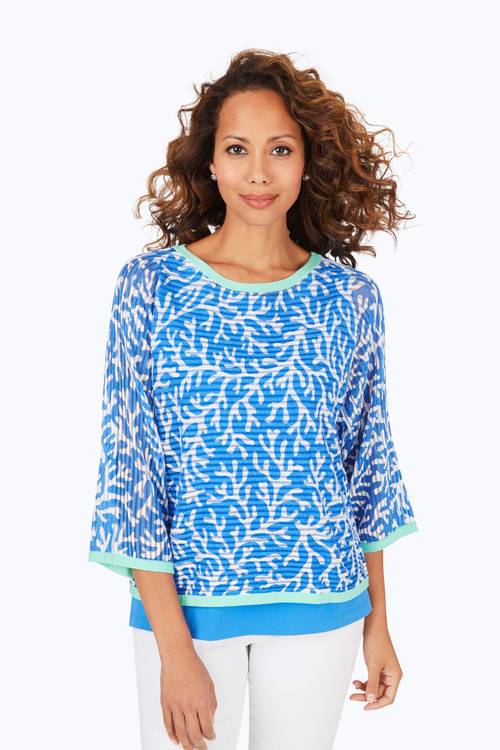 Marcy Petite Coral Reef 2-Fer Sweater