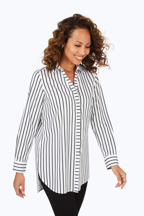 Vera Petite Stretch Non-Iron Career Stripe Tunic