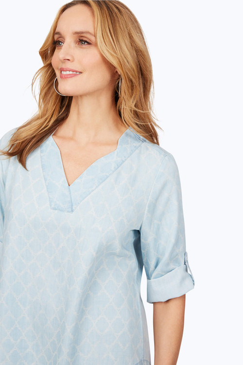 Harmony Petite Distressed Trefoil Tencel® Shirt