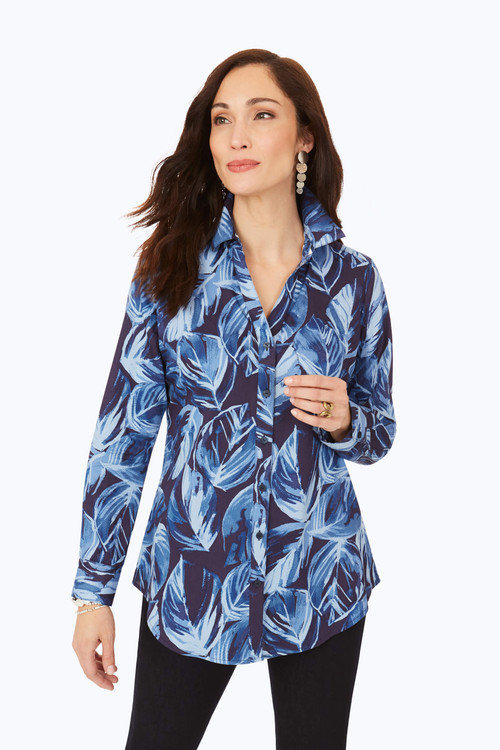 Petite Non-Iron Brushstroke Leaves Tunic