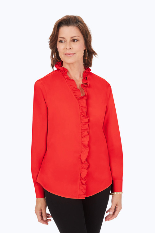 Ruffle Neck Stretch Non-Iron Shirt