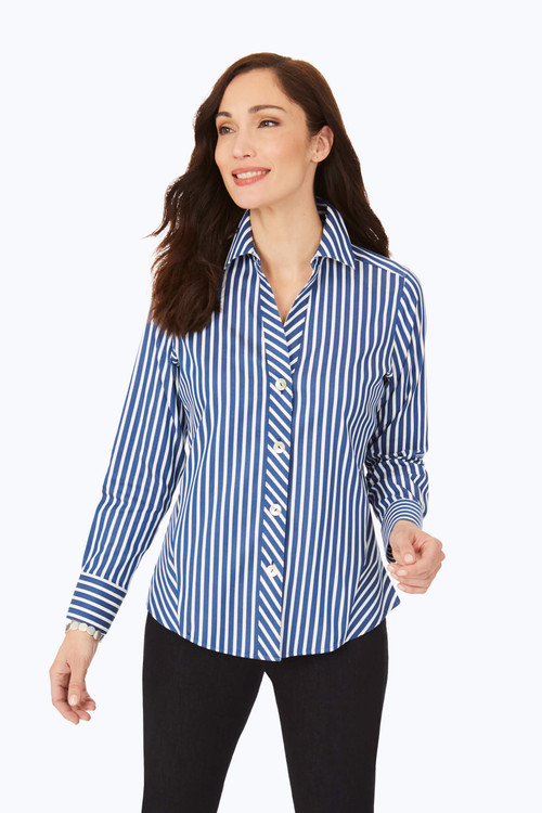 Paityn Petite Stretch Non-Iron Striped Shirt