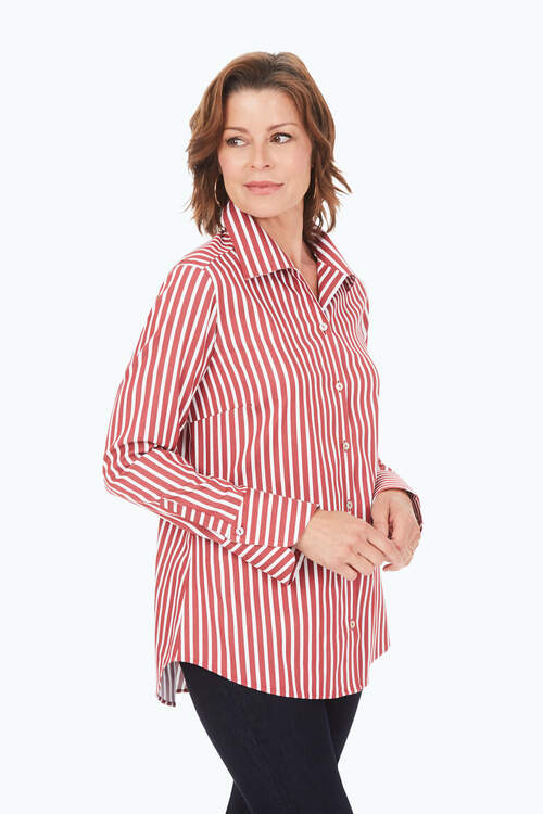 Wing Collar Stretch Non-Iron Striped Tunic