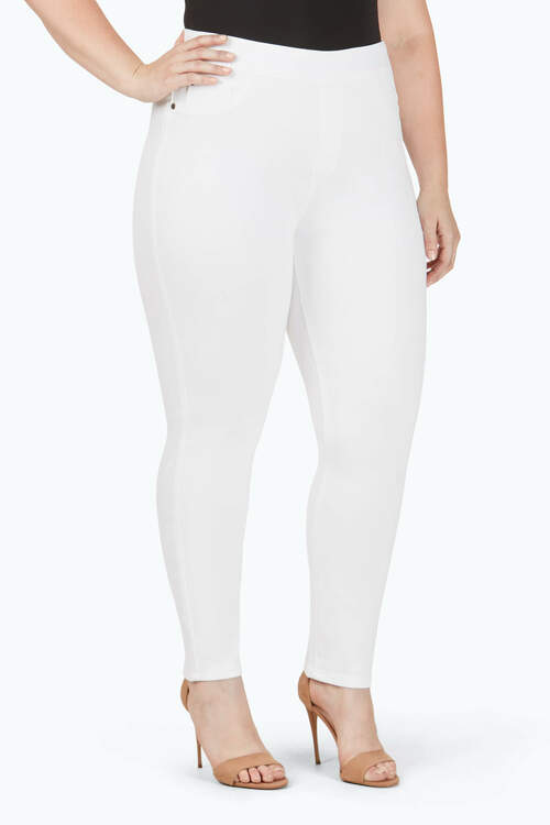 The Uptown Plus Slim Leg Pull-On Stretch White Jeans