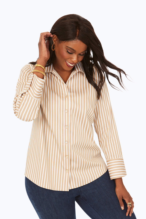 Plus Wing Collar Stretch Non-Iron Striped Tunic