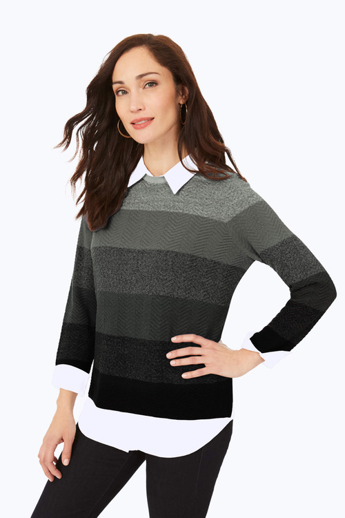Ombre Textured 2-Fer Sweater