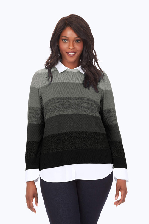 Plus Ombre Textured 2-Fer Sweater
