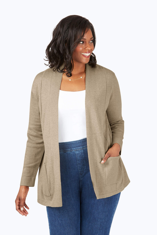 Plus Fully Fashioned Jersey Cardigan