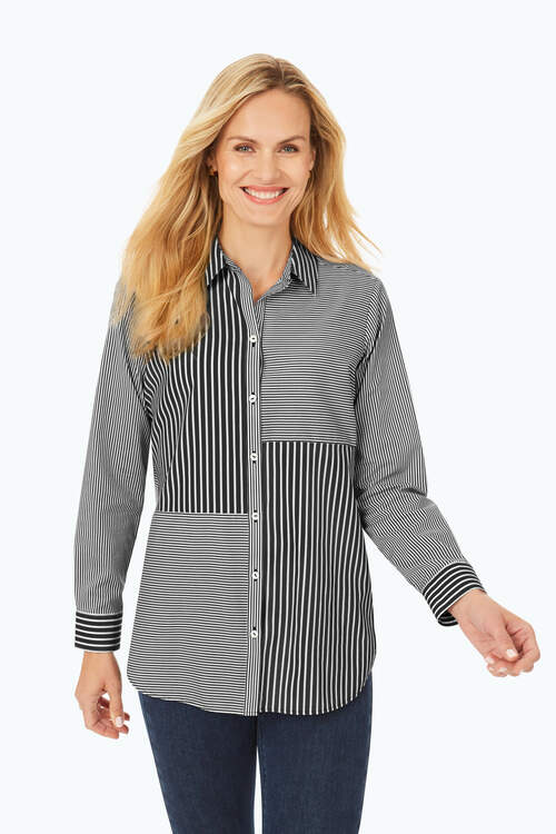 Petite Non-Iron Mixed Stripe Shirt