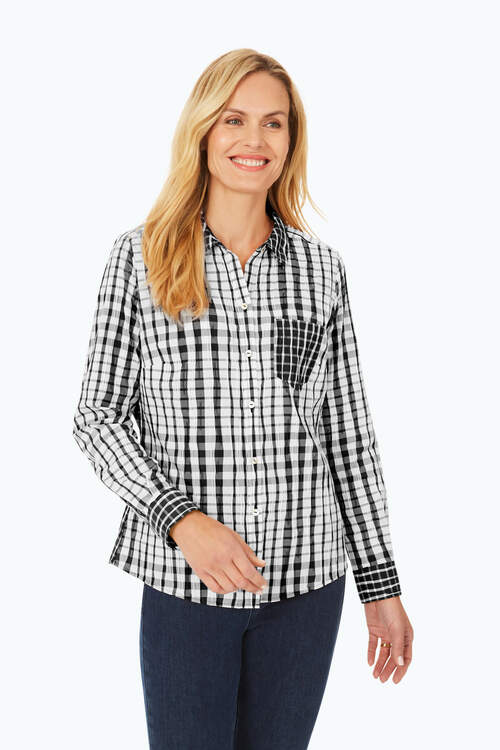 Hampton Petite Exaggerated Plaid Shirt
