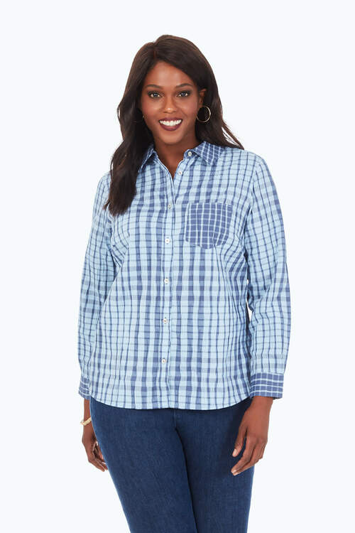 Hampton Plus Exaggerated Plaid Shirt