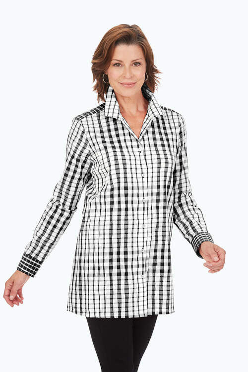 Exaggerated Plaid Tunic