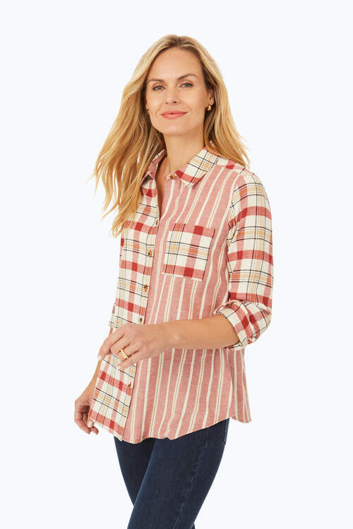 Zoey Brushed Cotton Plaid and Stripe Shirt