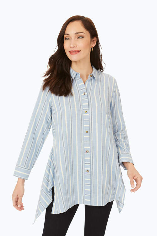 Brushed Cotton Multi-Stripe Tunic
