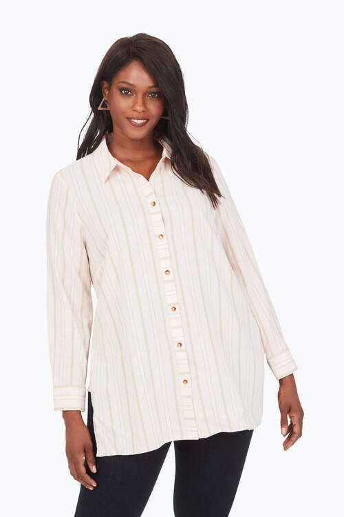 Plus Brushed Cotton Multi-Stripe Tunic
