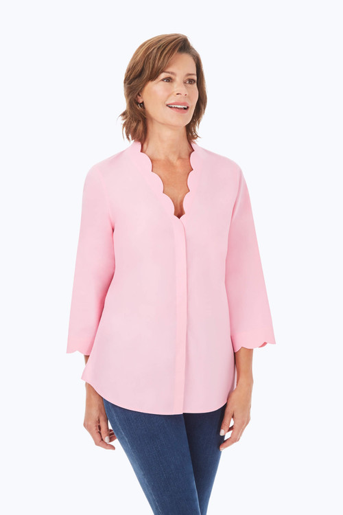Scalloped Pinpoint Non-Iron Shirt