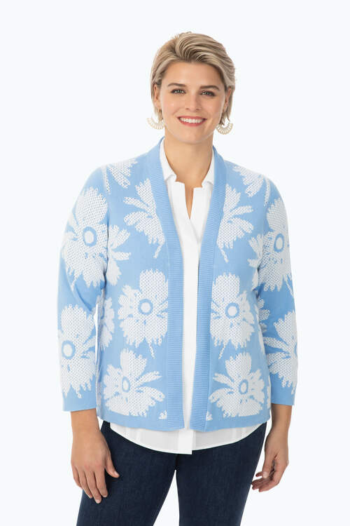 Plus Reversible Floral Stitch Cardigan
