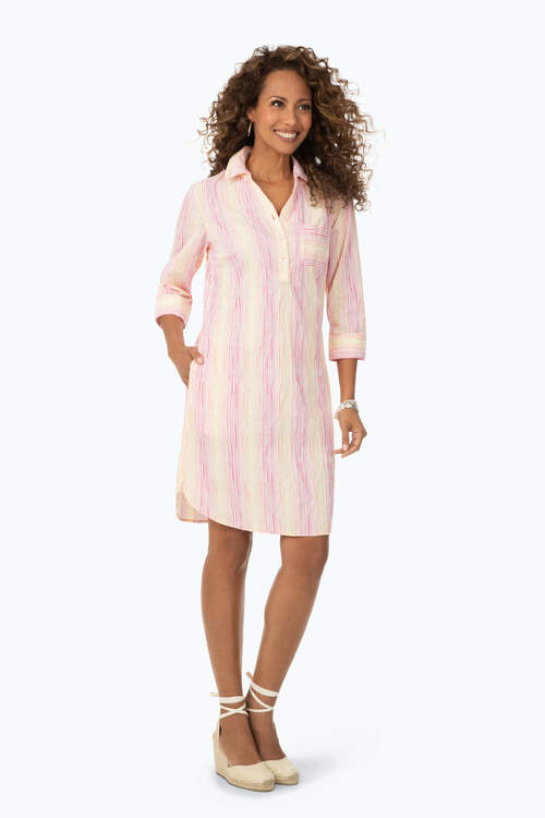 Ombre Crinkle Stripe Dress