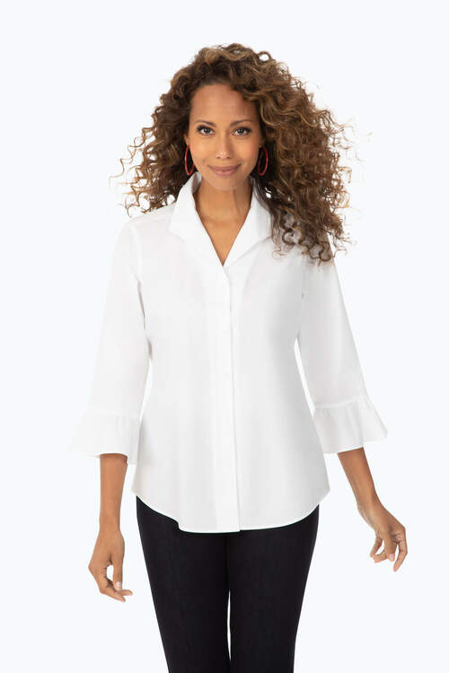 Ruffle Sleeve Stretch Non-Iron Shirt