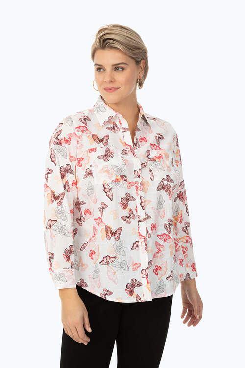 Zoey Plus Non-Iron Butterfly Shirt