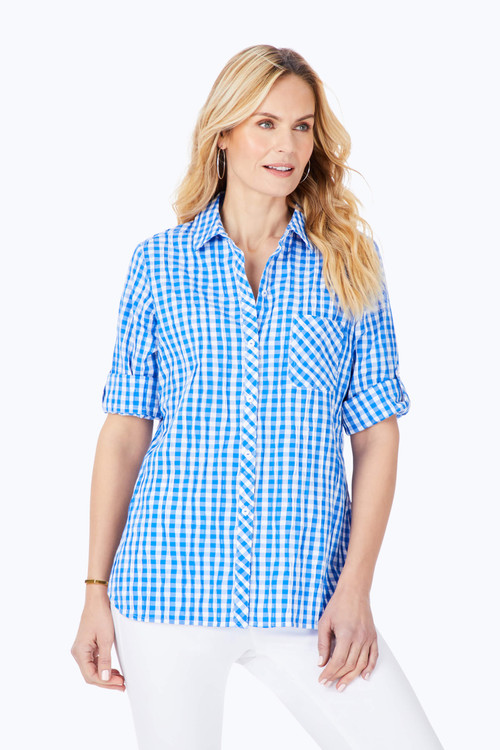 Front Pocket Stretch Crinkle Gingham Shirt