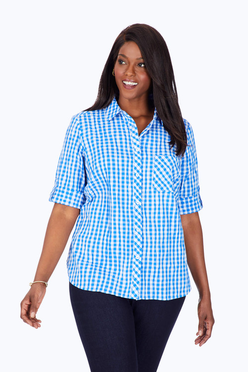 Plus Front Pocket Stretch Crinkle Gingham Shirt