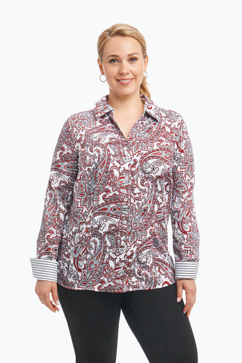 Lauren Plus Wrinkle Free Shirt in Romantic Paisley