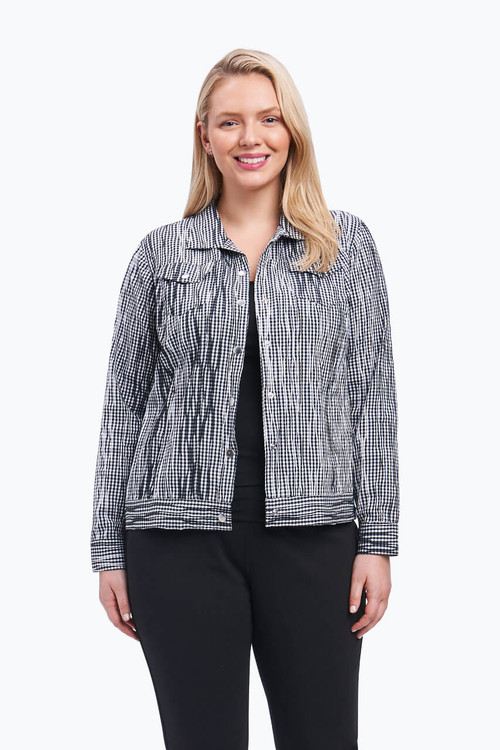 Tina Plus Jacket in Crinkle Gingham