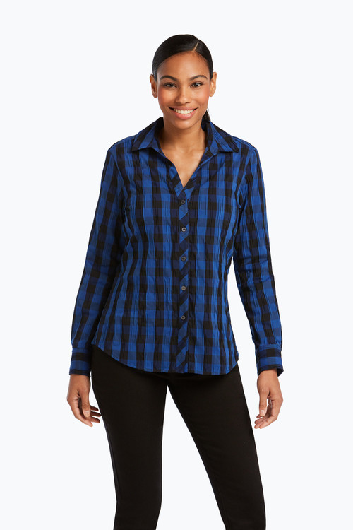 Mary Petite Crinkle Buffalo Check Shirt