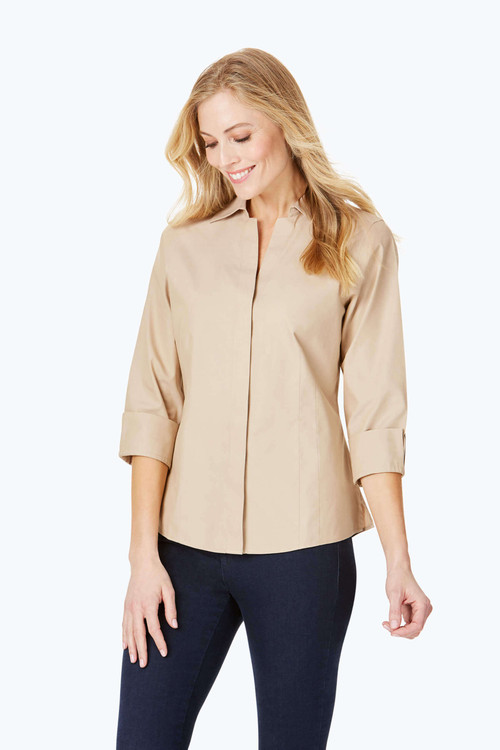 Taylor Petite Non-Iron Pinpoint 3/4 Sleeve Shirt