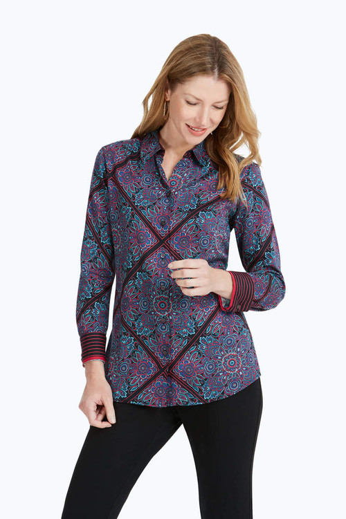 Addison Petite Wrinkle-Free Diamond Paisley Shirt