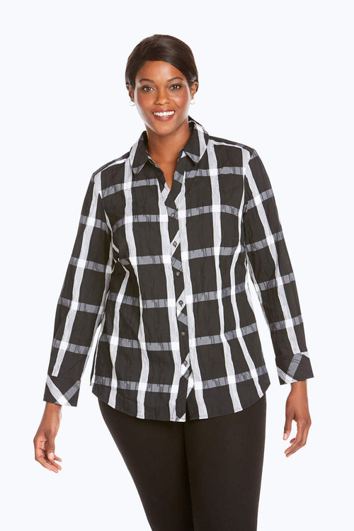 Mary Plus Crinkle Windowpane Shirt