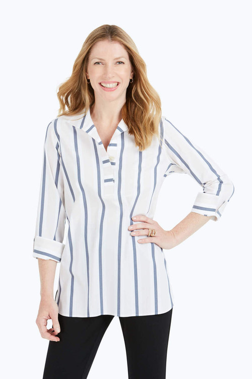 Dora Non-Iron Variegated Stripe Tunic
