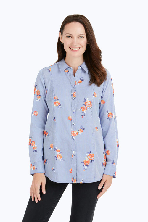 Riley Embroidered Floral Stripe Shirt