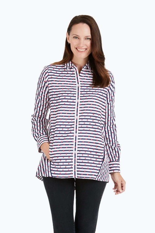 Carlene Embroidered Dot Stripe Tunic