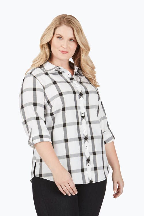 Zoey Plus Non-Iron Windowpane Plaid Shirt