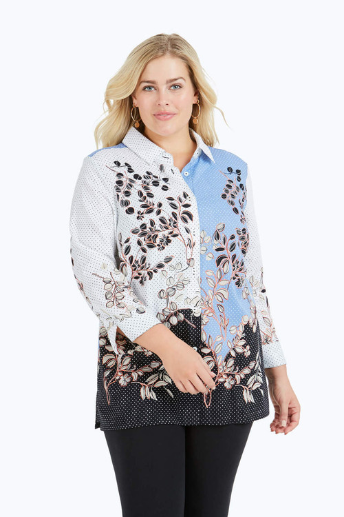 Libby Plus Wrinkle-Free Flowing Florals Tunic