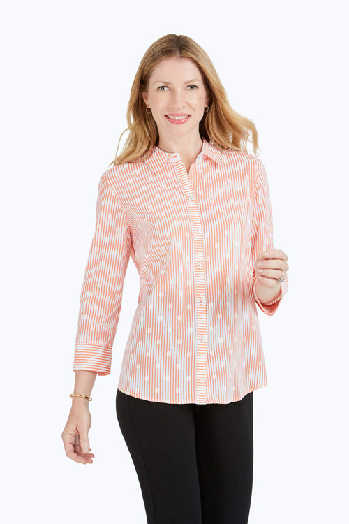 Ava Petite Dot Over Stripe Print Shirt