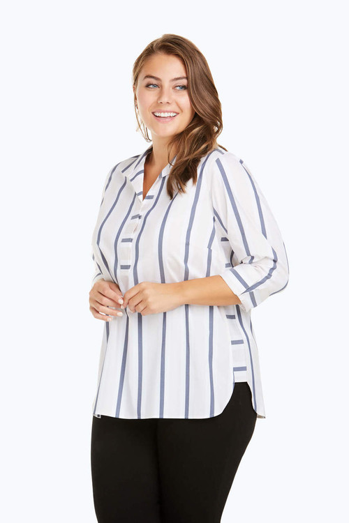 Dora Plus Non-Iron Variegated Stripe Tunic