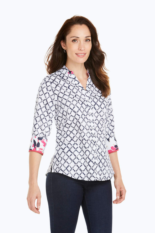 Mary Petite Wrinkle-Free Diamond Lattice Shirt