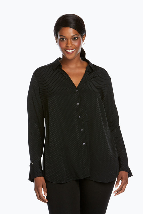 Lillian Plus Jacquard Dot Blouse