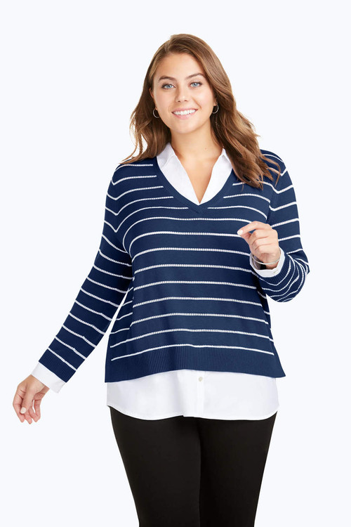 Dana Plus Textured Stripe Combo Sweater