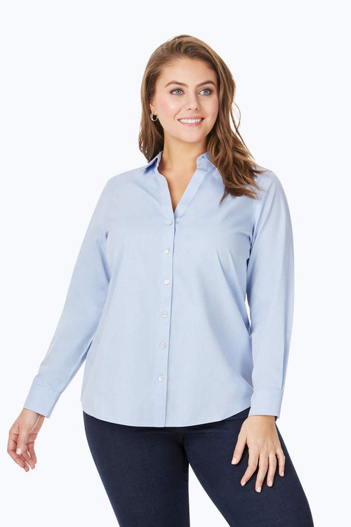 Chrissy Plus Essential Pinpoint Non-Iron Shirt
