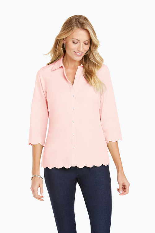 Lilith Scalloped Hem Non-Iron Pinpoint Shirt