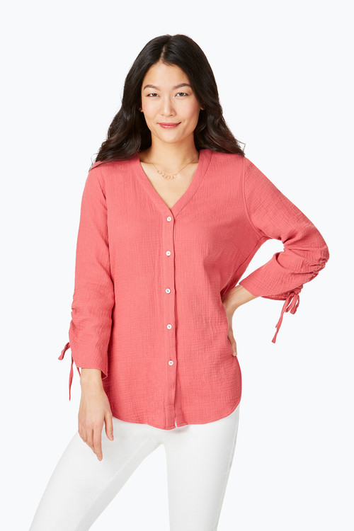 Marley Double-Faced Gauze 3/4 Sleeve Blouse