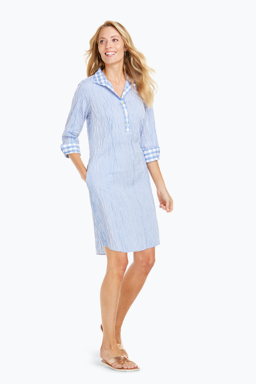 Miri Crinkle Gingham 3/4 Sleeve Dress