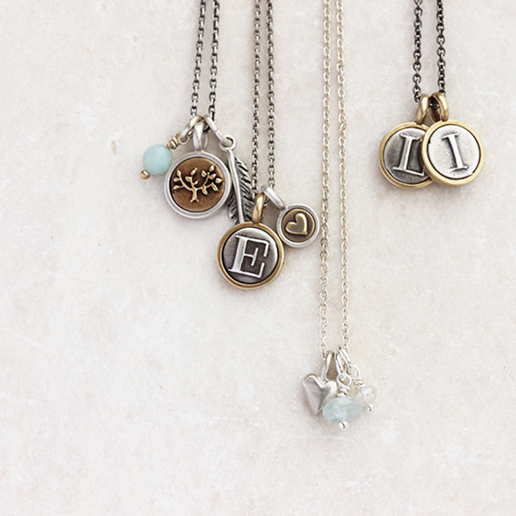 Letter + Teeny Heart Necklace