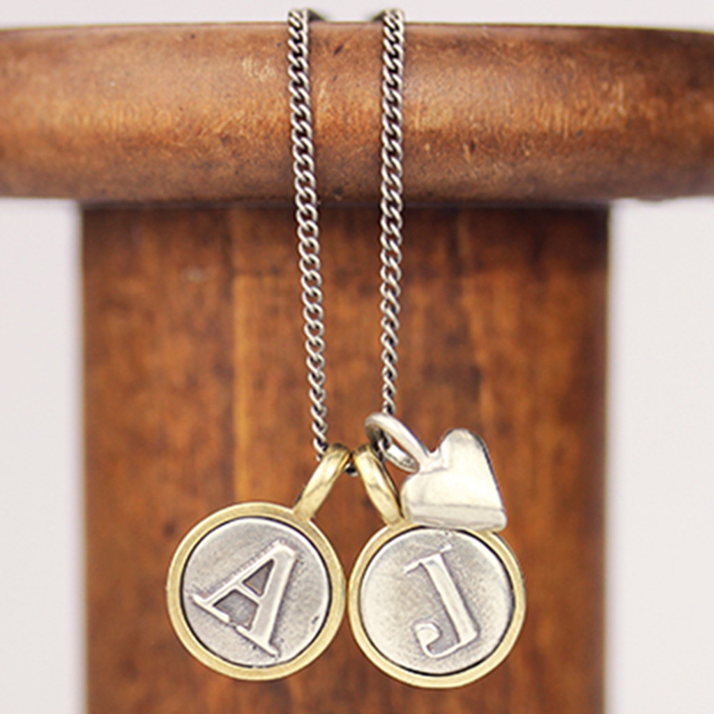 Letter + Sculpted Heart Necklace