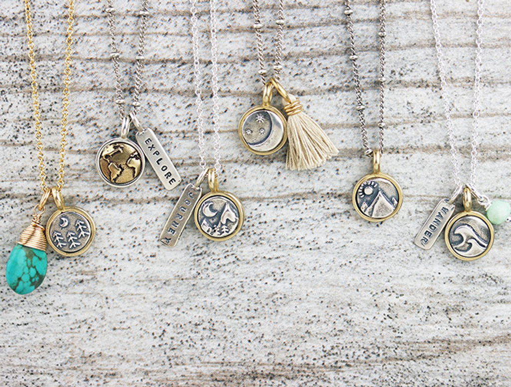Tiny Silver & Bronze Nature Pendants